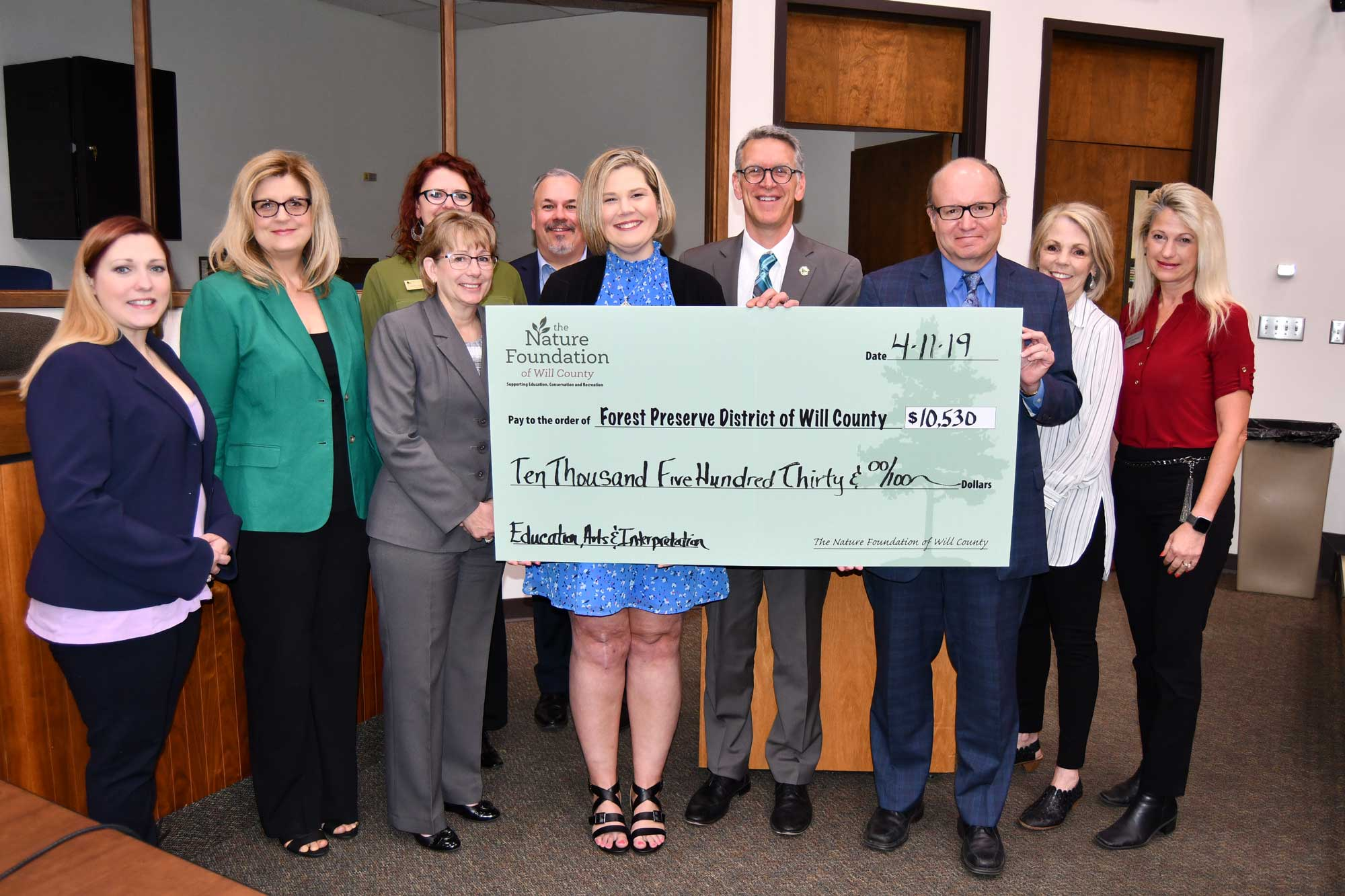 Photo for: Nature Foundation Presents Second 2019 Check to Forest Preserve