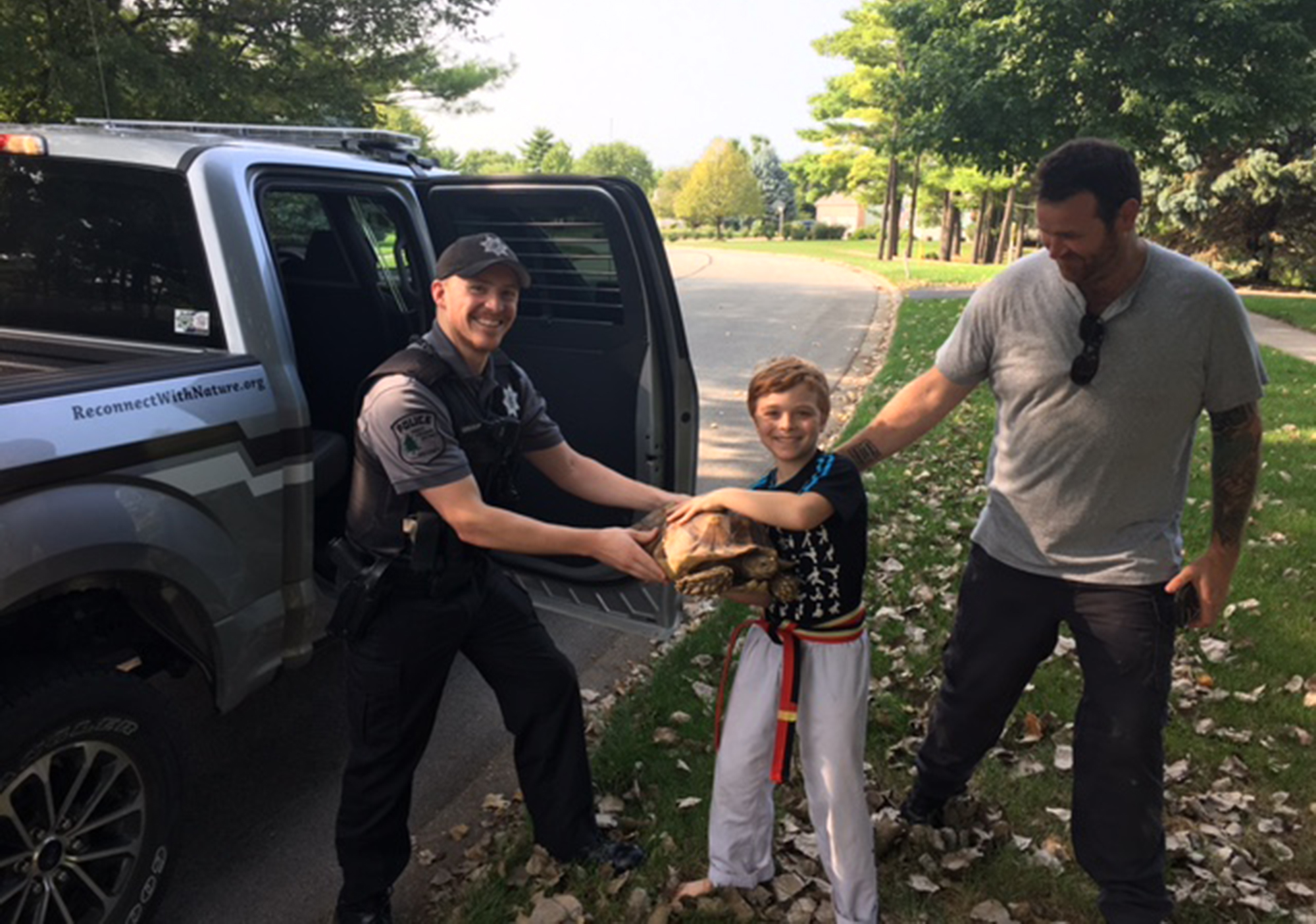 Photo for: Forest Preserve Police Reunite Lost Tortoise With Owners
